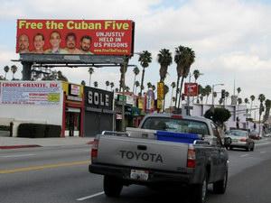 """Develada en Los Ángeles la cartelera """"Liberen a los Cinco"""""""